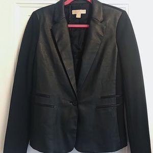 Michael Kors Black Vegan Leather Stretch Blazer